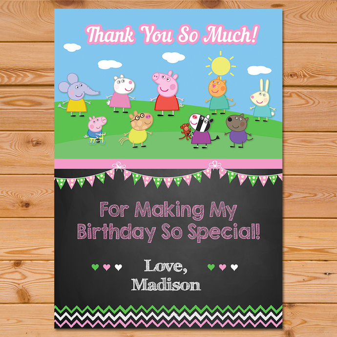 Peppa Pig Thank You Card Custom by PartyPrintables37 on Zibbet