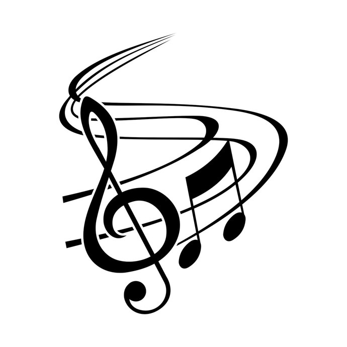 Classic Music Notes With Treble Clef graphics by vectordesign on