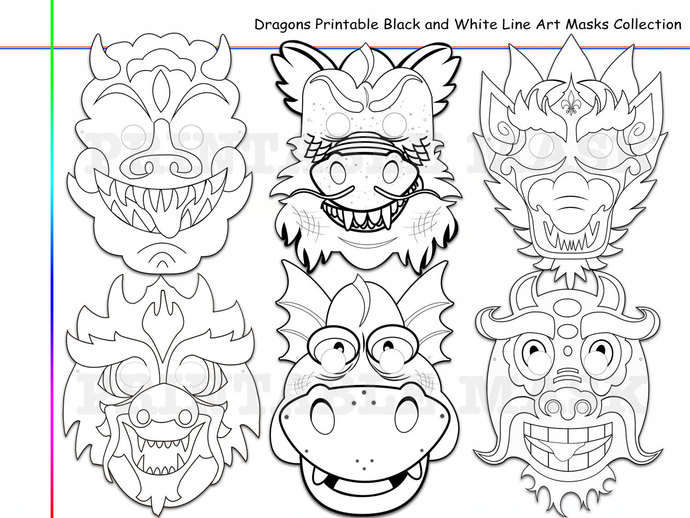 Unique Dragons Printable Black and White by HolidayPartyStar on Zibbet