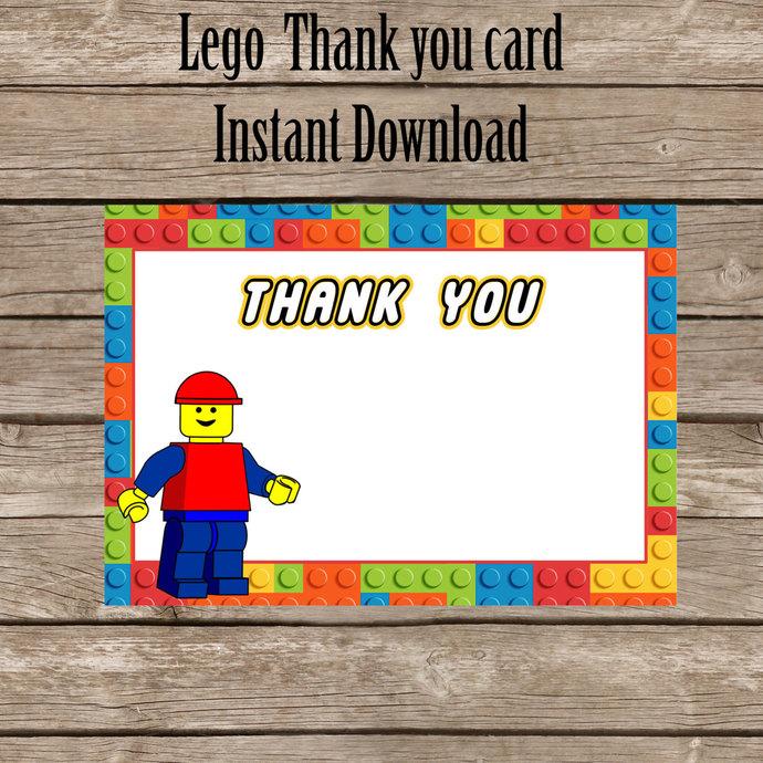 Lego thank you card, Lego Thank you Digital by okprintables on Zibbet