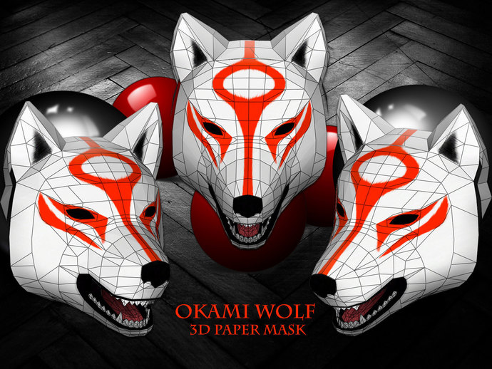 Unique Wolf 3D Pattern Printable Mask, costume, Japanese anime, animal  head, party games, Halloweenk, DIY, Polygon Mask, photo booth props