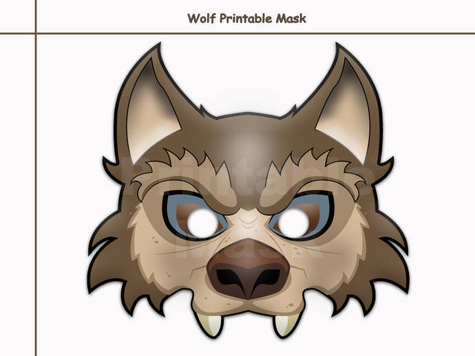 Unique Wolf Printable Mask, costumes, by HolidayPartyStar on Zibbet