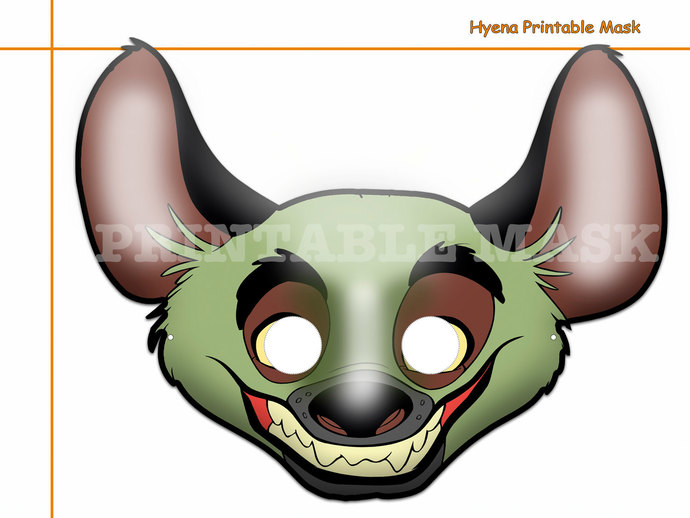 Unique Hyena Printable Mask, costumes, by HolidayPartyStar on Zibbet