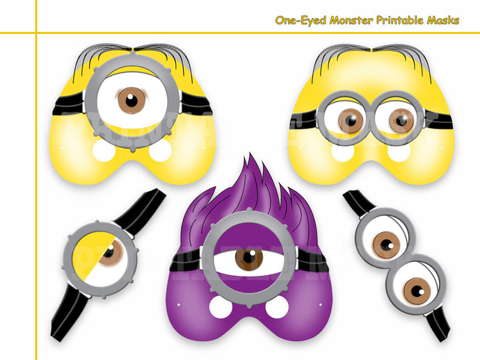 Unique One-Eyed Monster Printable Masks, by HolidayPartyStar on Zibbet