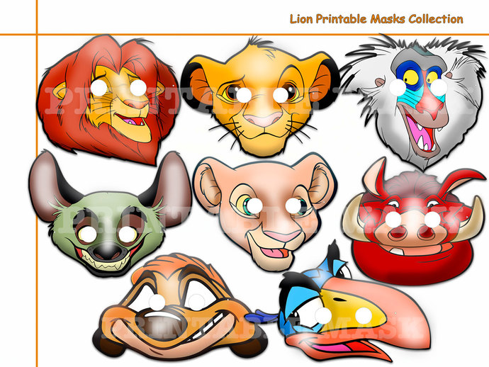Unique Lion Printable Masks, costumes, by HolidayPartyStar on Zibbet