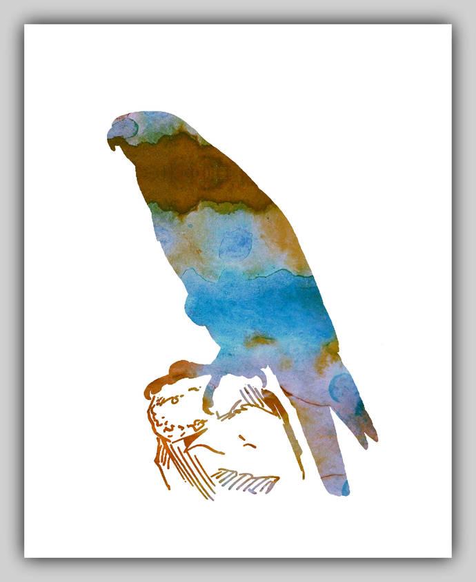 Hawk, water color art, water color print, by BittenByErmines on Zibbet