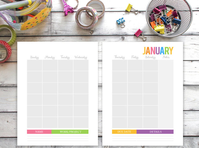 Printable Calendar ANY YEAR, Family by SugarPickle Designs on Zibbet