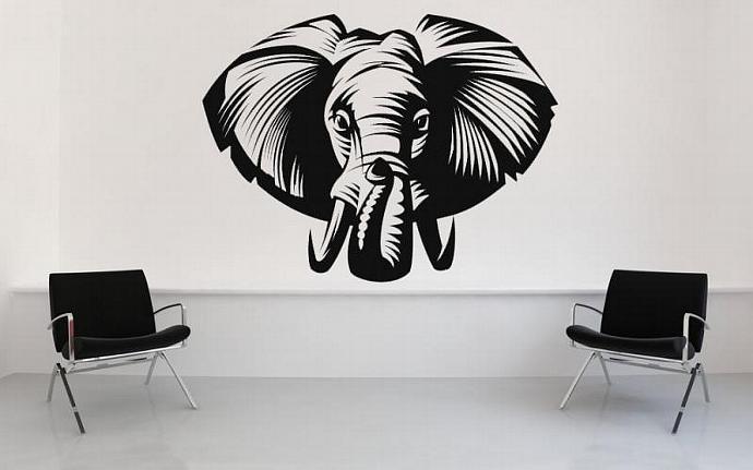 Awesome Elephant Head - Vinyl Wall Art by VinylWallAccents on Zibbet
