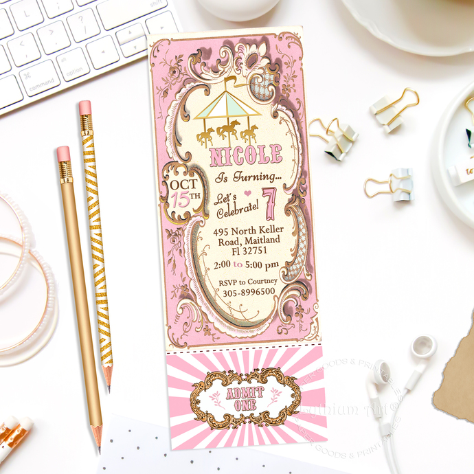 Carousel Ticket Invitation - Carousel Party by Lythiumart on Zibbet