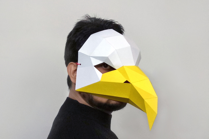 DIY Eagle mask,Party mask,lowpoly,3d by Paperamaze on Zibbet