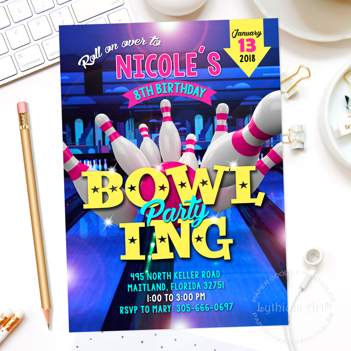 BOWLING INVITATION, Bowling Party Invitation, by Lythiumart on Zibbet