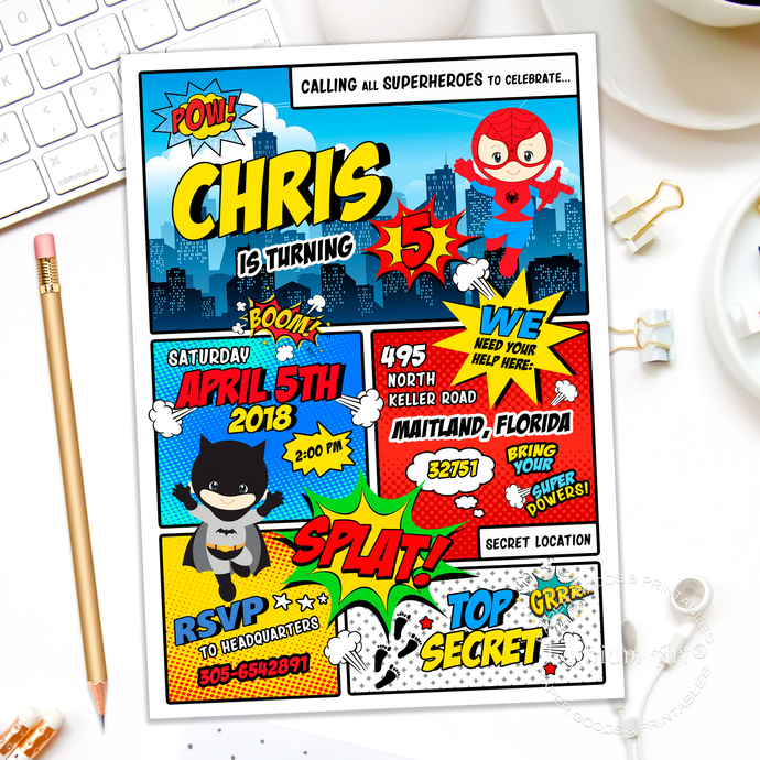 Superhero Invitation, Superheroes Party by Lythiumart on Zibbet