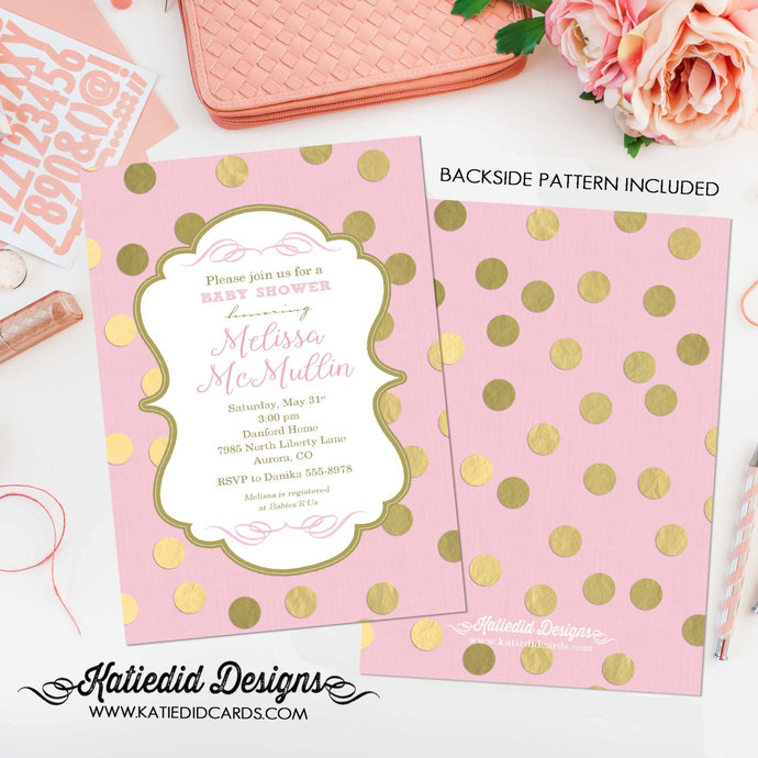 Little girl 1st birthday invite Pink gold by Katiedid Designs on