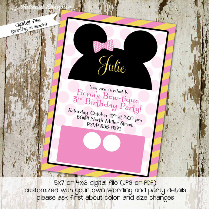 mickey mouse birthday invitation by Katiedid Designs on Zibbet