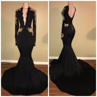 Long Sleeves Black Mermaid Prom Dress with by prom dresses ...