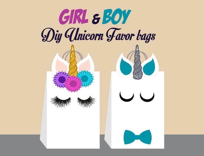 Unicorn DIY Favor Bag Template, Unicorn by AhlamDesigner on Zibbet