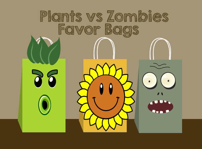 Plants vs Zombies DIY Favor Bag, plants vs by AhlamDesigner on Zibbet