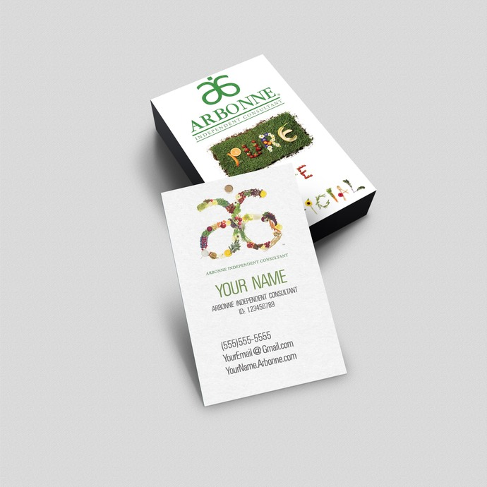Arbonne Pure- Vertical Business Card - by okprintables on Zibbet