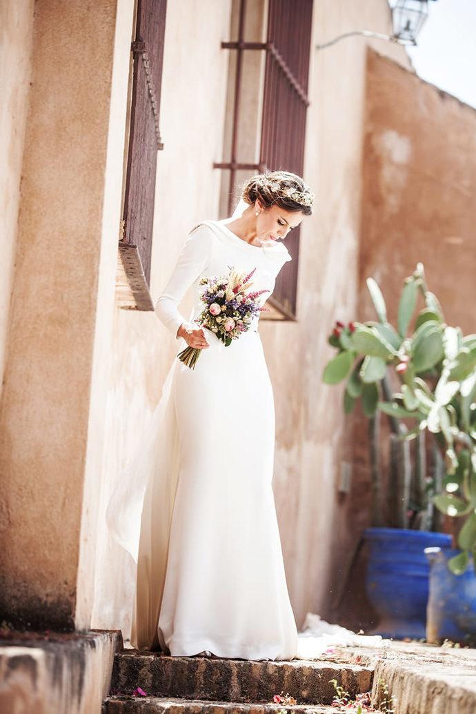 Simple Elegant Wedding Dress, Boat Neck by Miss Zhu Bridal on Zibbet