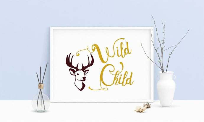 Saying Wild Child Deer Head Printable by Digital Sketches on Zibbet