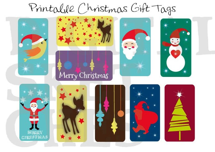 Printable Christmas Gift Tags DIY Labels by Digital Sketches on Zibbet