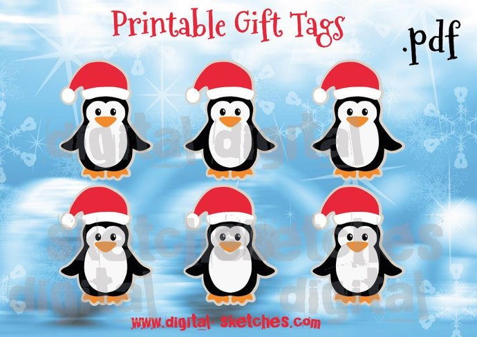 Printable Christmas Gift Tags Penguin DIY by Digital Sketches on