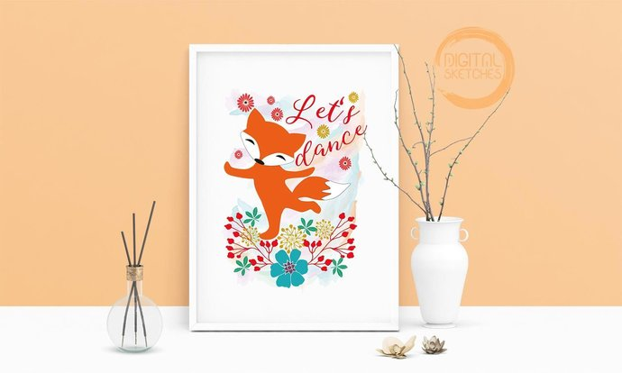 Saying Let\u0027s Dance Fox Printable Art, by Digital Sketches on
