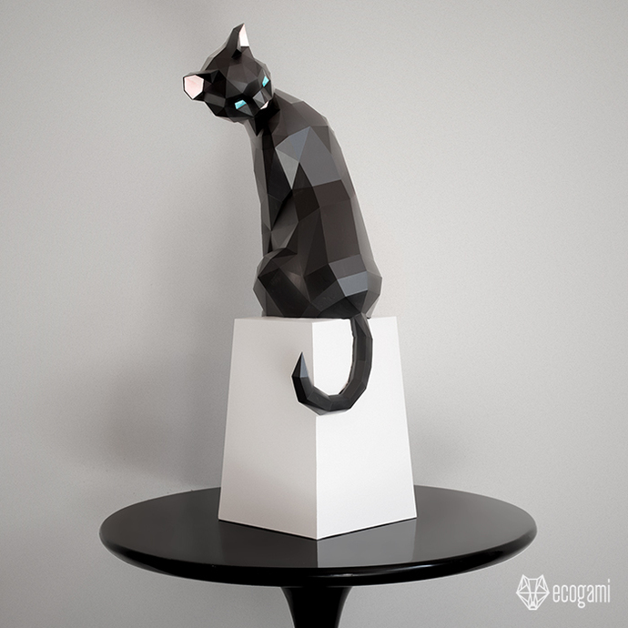 Make your own papercraft cat sculpture 3D by ecogami on Zibbet
