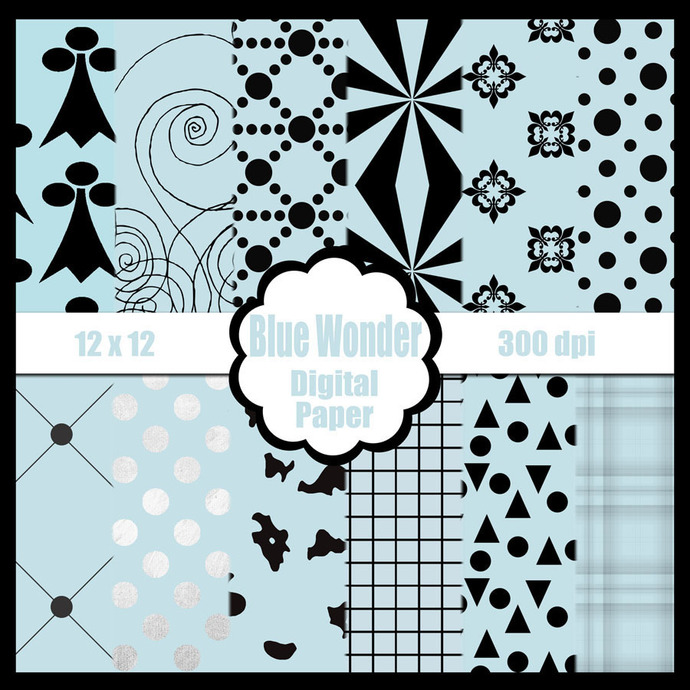 Blue Digital Paper Pack for Scrapbooks, by DianeTuGetit on Zibbet