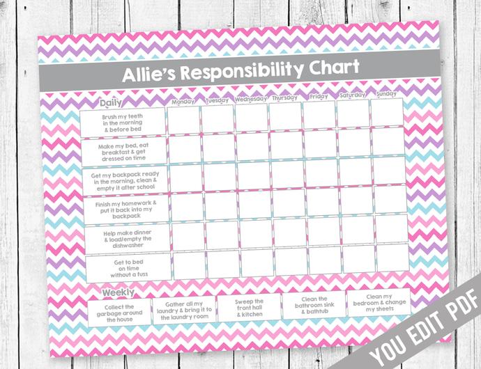 Girl Chore Chart, Reward Chart, by SugarPickle Designs on Zibbet