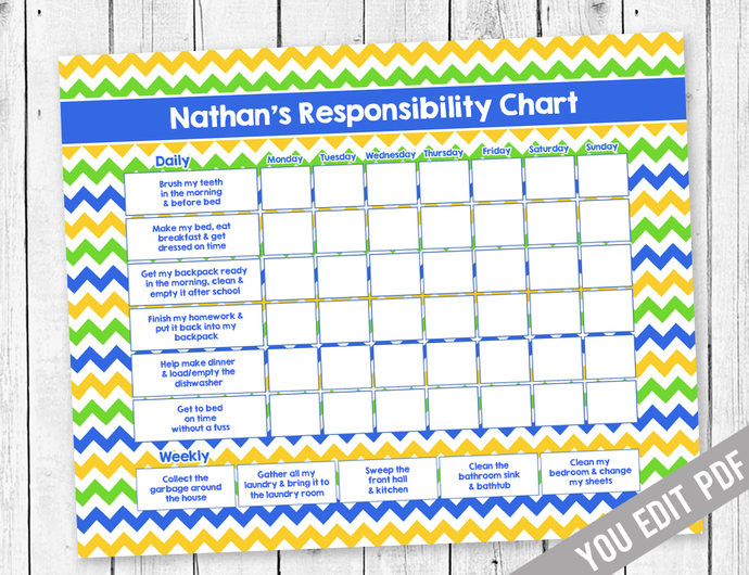 Printable Teen Chore Chart, Reward by SugarPickle Designs on Zibbet