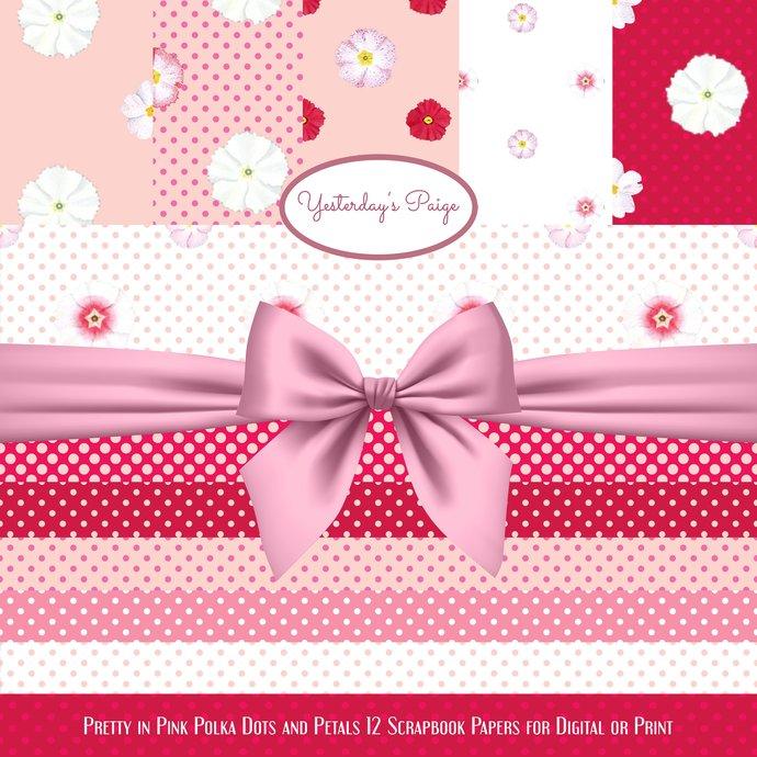 Digital Scrapbook Paper Flowers polka by Yesterday\u0027s Paige on