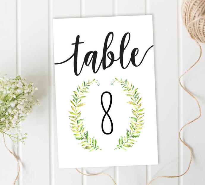 Table Number Cards, Wreath Table by SugarPickle Designs on Zibbet