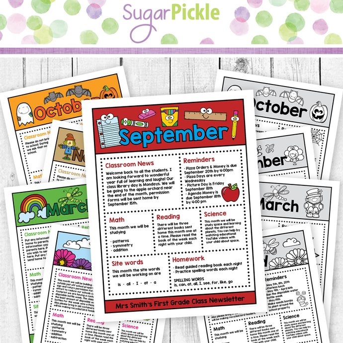 Editable Monthly Class Newsletter, by SugarPickle Designs on Zibbet