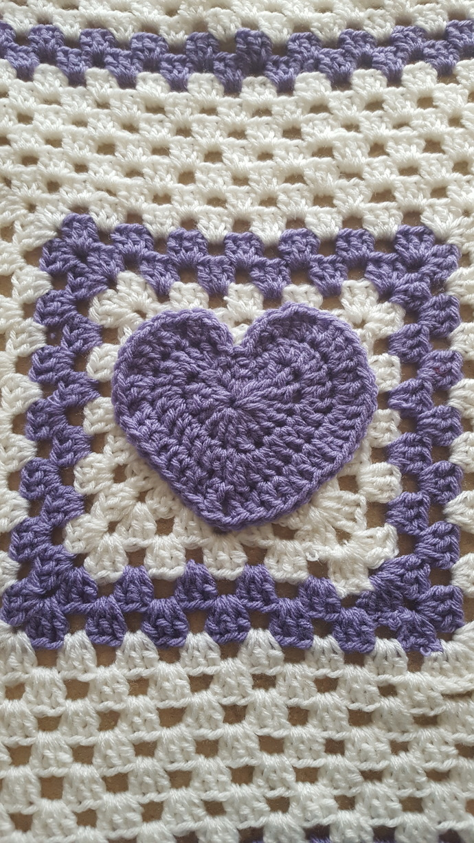 Crocheted Baby Blankets Crocheted Baby Blanket With A Heart In The Center