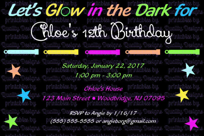 Glow Party Printable Birthday Invitation, by Quality Designs on Zibbet