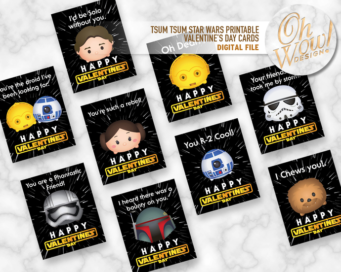Tsum Tsum Star Wars Printable Double Sided by OhWowDesign on Zibbet