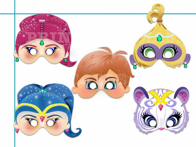 Shimmer and Shine printable masks, by HolidayPartyStar on Zibbet