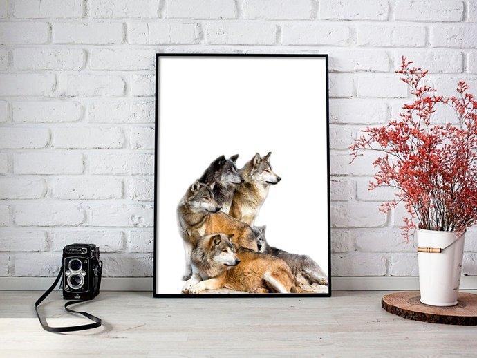 Digital Family of Wolfs Print, Digital by HolidayPartyStar on Zibbet