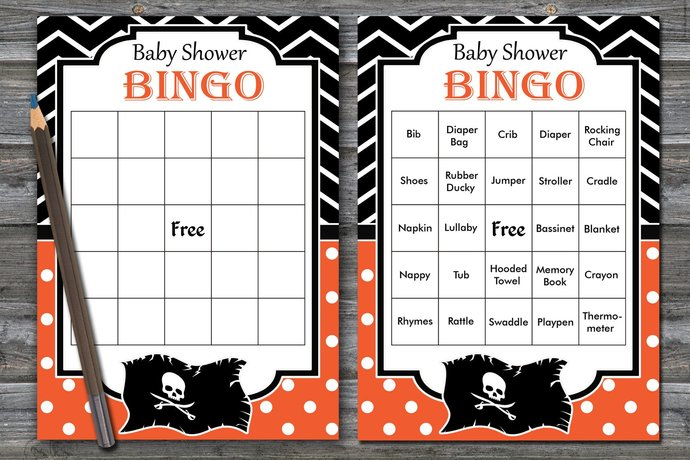 60 pirate Baby Shower Bingo Cards,Pirate by BrightColorDesign on