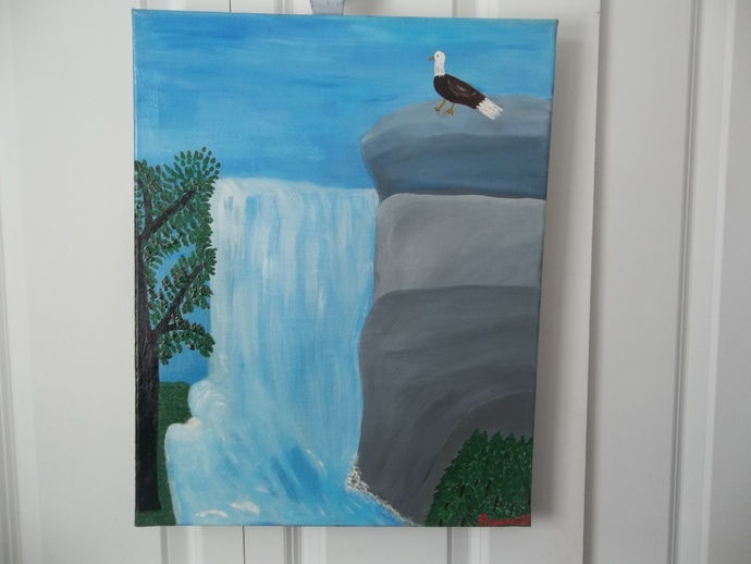 Waterfall,Bald Eagle, Office Decor, Collectable Art, Handmade Gift,  Original Oil Painting, Hand Painted, Signed painting, Signed Bennett