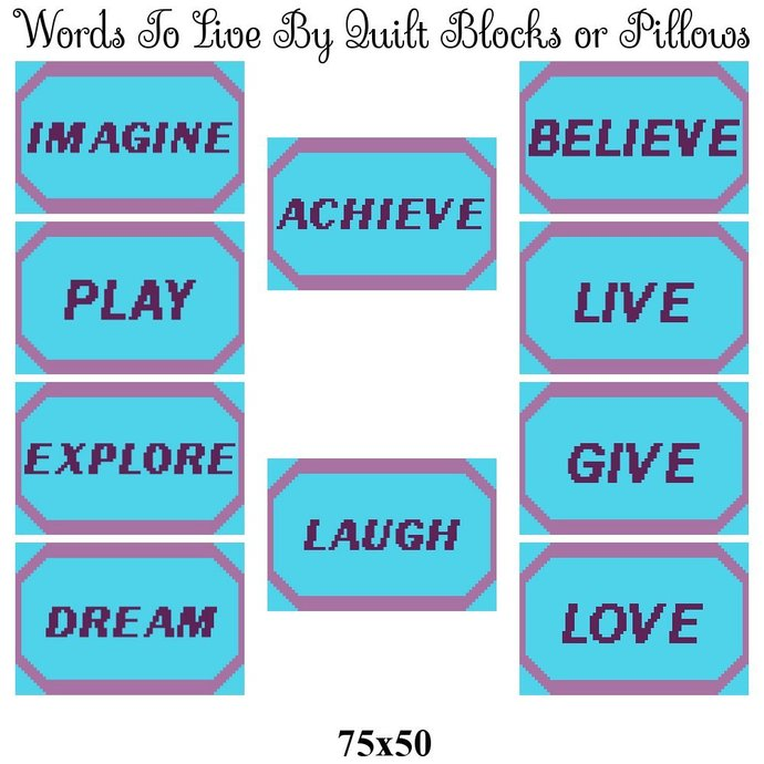 Words to Live By Set Crochet Graph Pattern 75x50 by Infinity on Zibbet