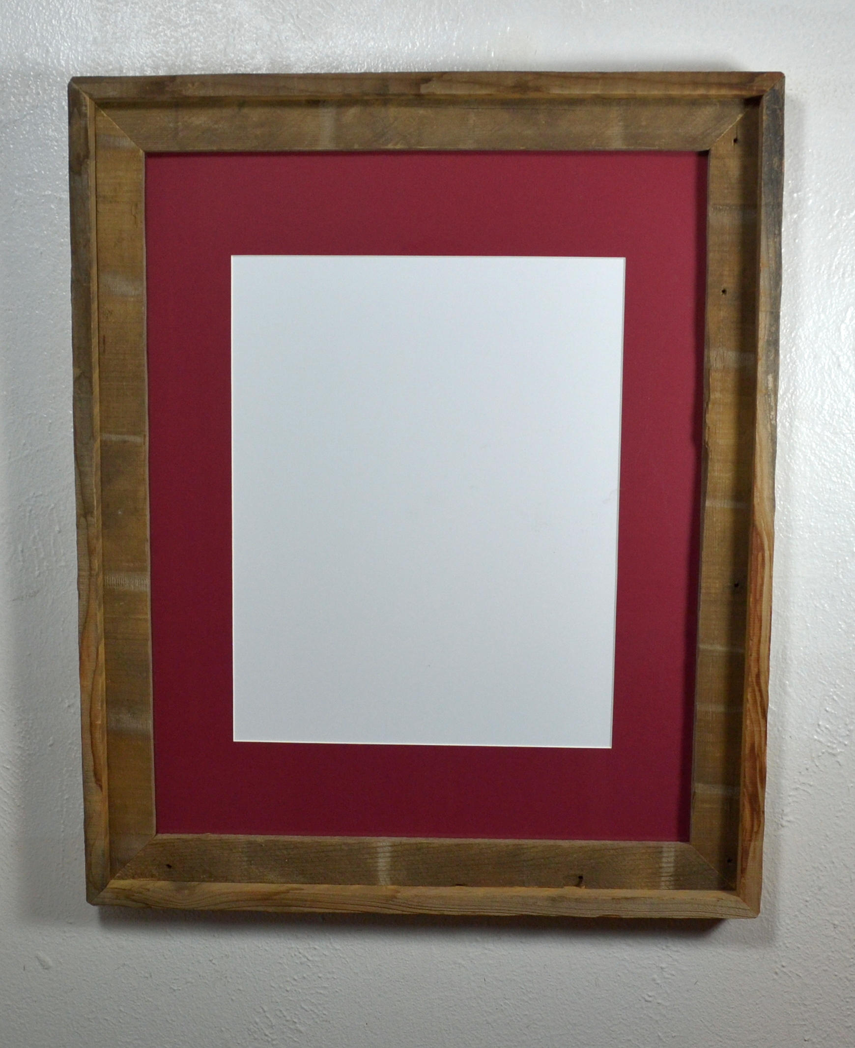 Large Frame Mat 11x14 Cabernet Red Mat In 16x20 Recycled Wood Wall Hung Poster Frame