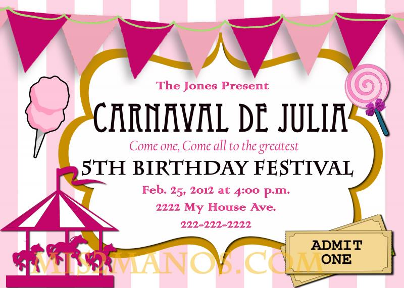 printable carnival birthday invitations