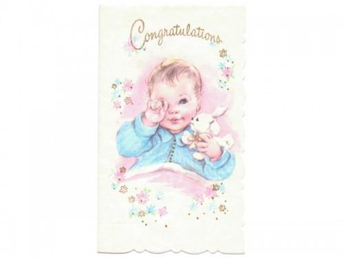 New Baby Card UNUSED Vintage 1950s by SandyCreekCollectables on Zibbet - new baby congratulations card