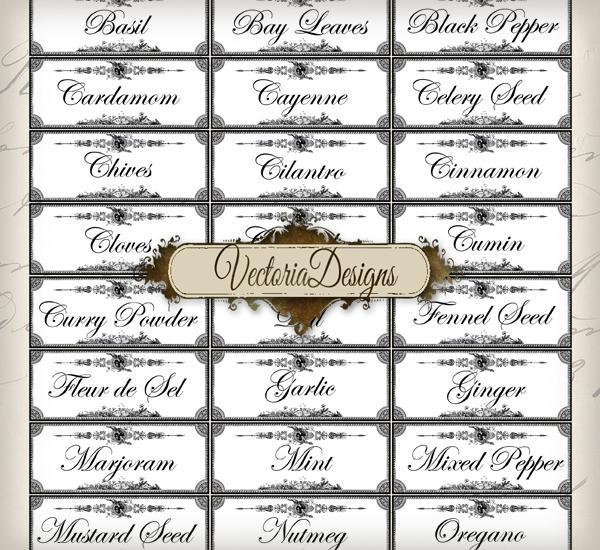 Spice Labels printable images digital VectoriaDesigns