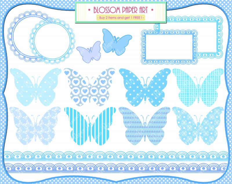 Baby Boy Clipart - Butterflies - Baby by BlossomPaperArt on Zibbet