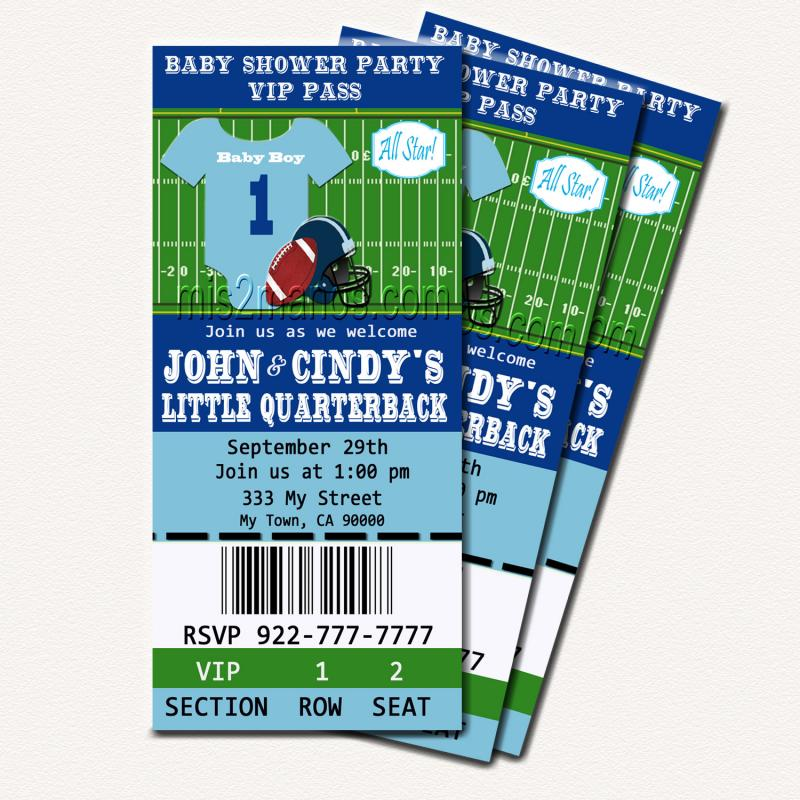 Football Baby Shower Printable Ticket by Mis2Manos on Zibbet - printable ticket paper