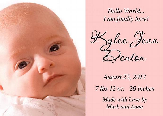 Hello World Personalized Photo Baby Birth by thenotecardlady on Zibbet