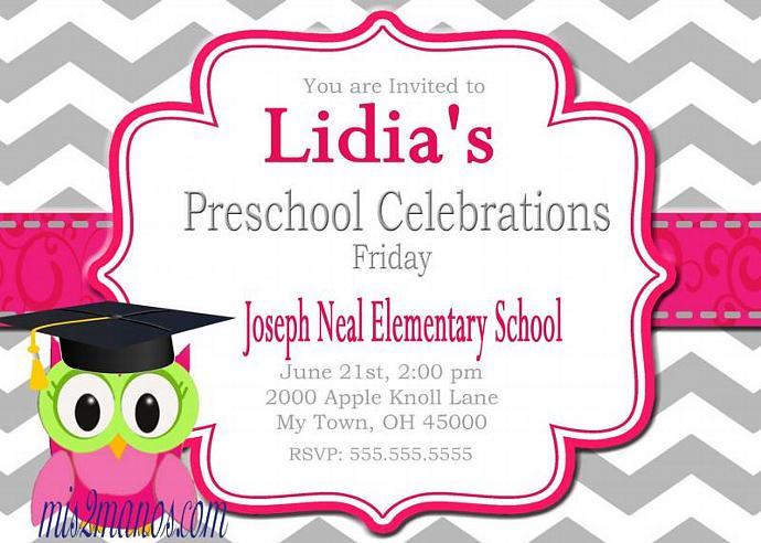 Graduation Invitation Preschool Kinder diy by Mis2Manos on Zibbet